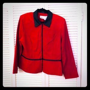 👒NEW👒EUC VTG red zip up mod blazer w/faux trim.